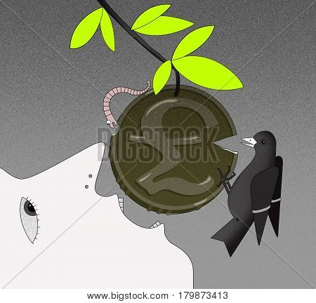 The face of a person in profile with an open mouth tries to bite off the coin with a GBP sign on the branch. Coin with chipped edges. A worm and a bird bite off pieces of a coin. Computer simulation of graphic background drawing.