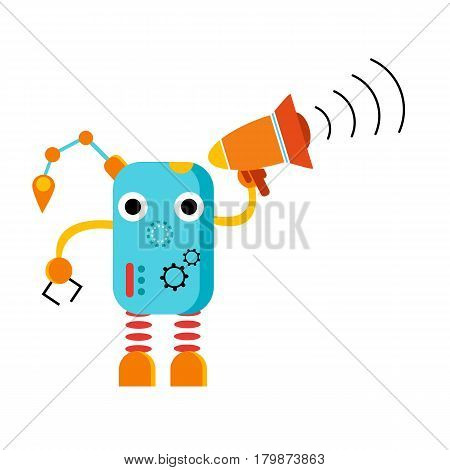 Cute cartoon robot with megaphone. Loud speaking machine