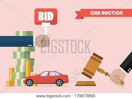 Buying selling car from auction. Vector illustration