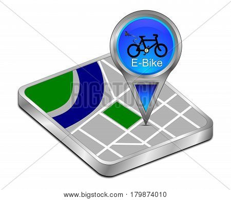 blue Map pointer with E-Bike - 3D illustration