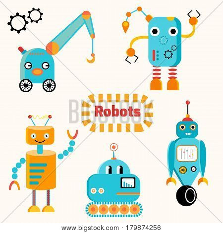 Vector set of funny robots with faces. Funny cyborgs