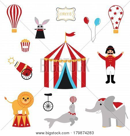 Cute set of circus elements. Vector image.