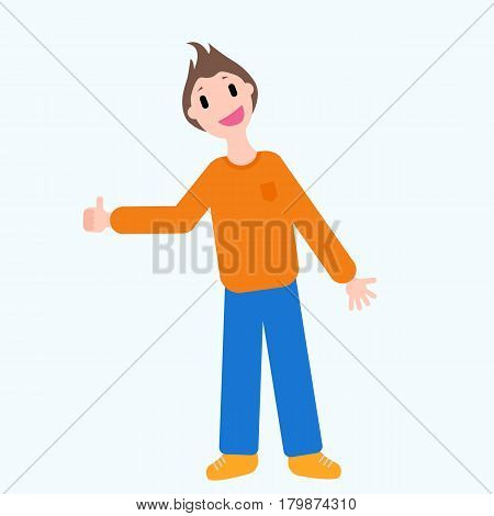 Flat style smiling guy showing thumbs up