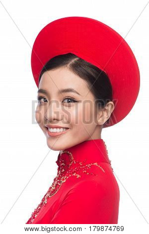 Charming Vietnamese Bride In Red Ao Dai Traditional Dress With Hat.