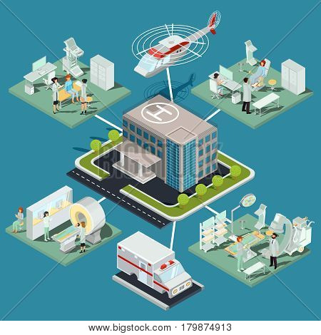 Vector isometric illustrations of a medical clinic building with a helicopter pad, interior of MRI room, ultrasound room, gynecological office, operating room with the appropriate equipment