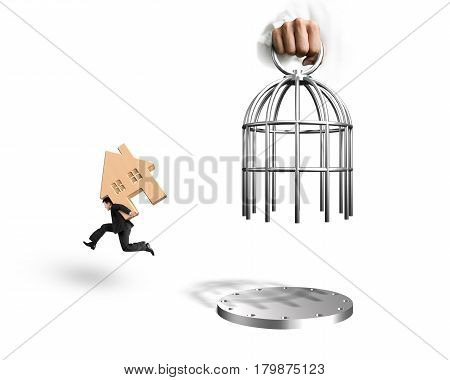 Hand Opening Cage And Man Carrying Wooden House Running