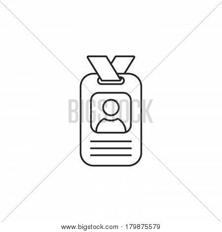 Badge thin line icon identification card outline vector logo illustration linear id pictogram isolated on white