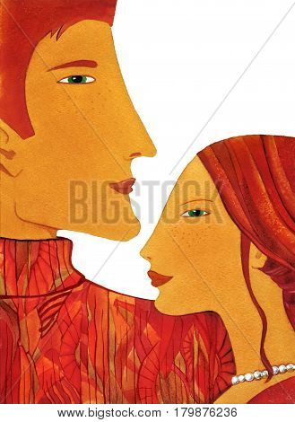 Profile of young man and woman with long hair stylized. Watercolor isolated on white background