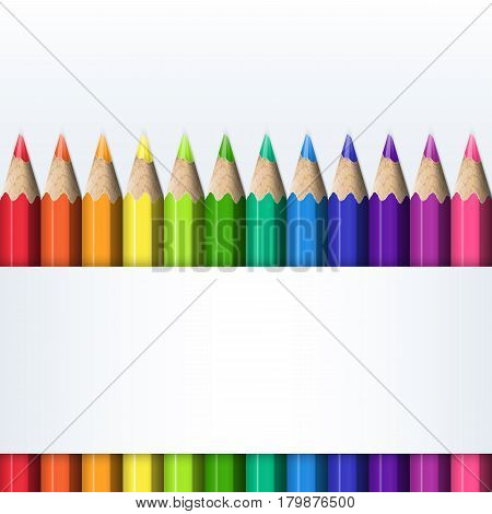 Template for Cover of Box of Colored Pencils. Straight Line of Bright Realistic Colorful Pencils.