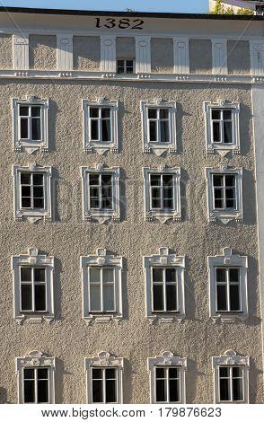 Facade of building in the historic centre of Salzburg. Austria