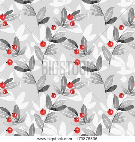 Floral seamless pattern. Branches and berries 20