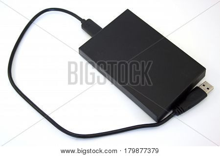 External hard disk on the white background. Data storage support.