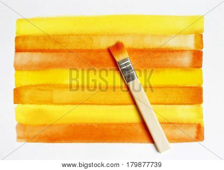 Striped color bright watercolor background and brush