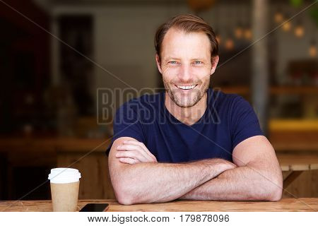 Handsome Middle Aged Man Smiling