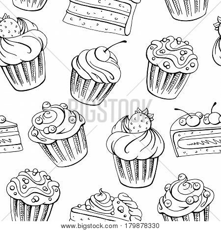 Muffin dessert graphic black white sketch seamless pattern illustration vector