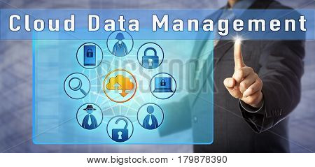 Blue chip cyber security consultant is presenting on Cloud Data Management. Information technology metaphor and computer security concept for data protection challenges in corporate cloud computing.