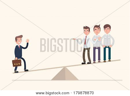 One businessman on one side of weighing scale is heavier than many executives the other side. Vector illustration in a flat style.