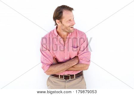 Handsome Older Male Fashion Model Smiling Against White Wall