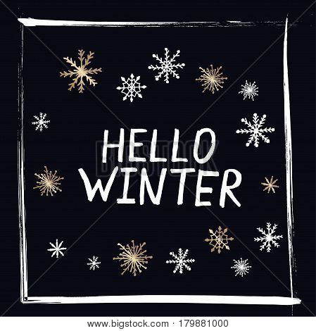 Hello Winter text on black vector background. Retro greeting card or banner design template with hand drawn typography. Vector card design with custom calligraphy. Winter season cards, greetings for social media.Christmas greeting card. Print with gold an