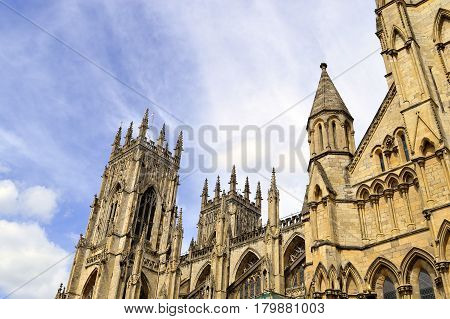 York Yorkshire England UK - May 22 2016 : The historical York Minster the cathedral of York