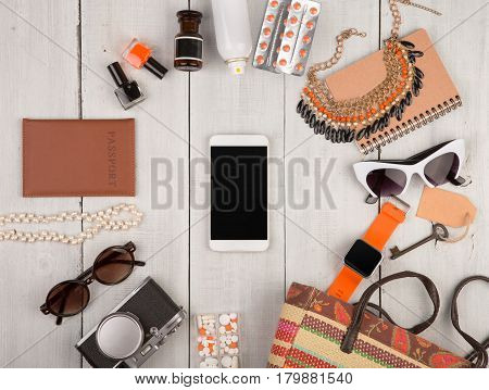 Women Set With Accessories, Smartphone, Smart Watch, Passport, Camera, Key, Note Pad, Sunglasses, He