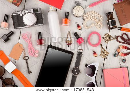 Women Set With Accessories, Tablet Pc, Smart Watch, Passport, Camera, Key, Note Pad, Sunglasses, Hea
