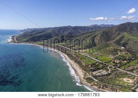 Aerial view of Nichols Canyon County Beach in Malibu, California.