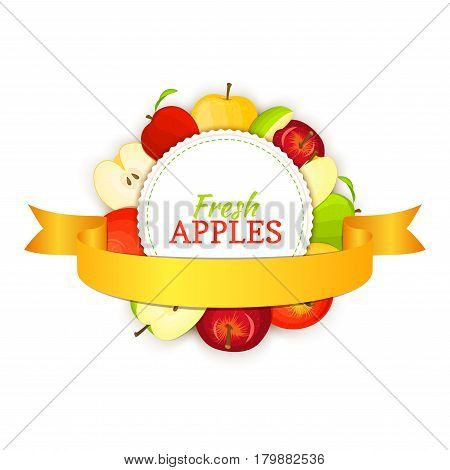 Round banner composed of different appels fruit and gold ribbon. Vector card illustration. Circle apple frame. Yellow, red and green apple fresh fruits appetizing looking for packaging design of healthy food