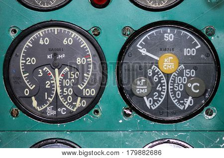 Detail of a old airplane cockpit The instrument panel of the Tu-154M aircraft Taganrog Russia January 12 2010