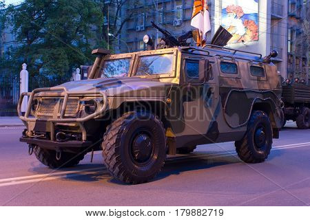 Tiger Armored Vehicle Rostov-on-Don Russia May 4 2012 Preparing for the Victory Parade