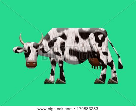 Abstract cow textured. Digital colorful illustration. Isolated on green background.