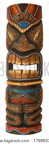 wooden mask for home decoration, handmade mask. Looks like a biting figure