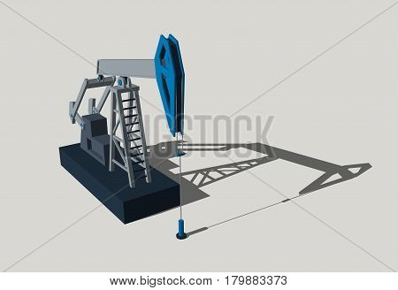 Oil pump jack. Isolated on grey background. 3D rendering illustration.