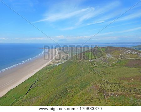 Rhossili beach on the Gower peninsular in Wales