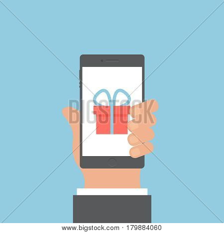 Smartphone and hand vector concept. Phone with hand in modern flat style. Smart technology on blue background. Smartphone with gift sing vector illustration. Smart phone flat icon.