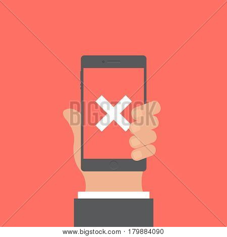Smartphone and hand vector concept. Phone with hand in modern flat style. Smart technology on red background. Smartphone with warning sing vector illustration. Smart phone flat icon.
