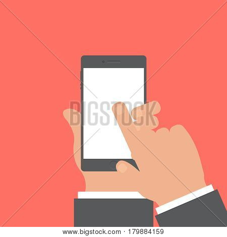 Smartphone and hand vector concept. Phone with hand in modern flat style. Smart technology on red background. Smartphone with hand sing vector illustration. Smart phone flat icon.