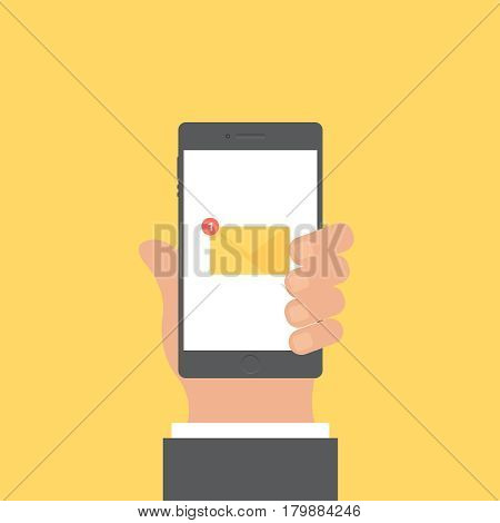 Smartphone and hand vector concept. Phone with hand in modern flat style. Smart technology on yellow background. Smartphone with mail sing vector illustration. Smart phone flat icon.