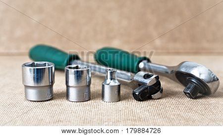 Hex head set. Hex head for screwdriver. To tool loosening screws bolts and nuts. Picture for illustration a collage.