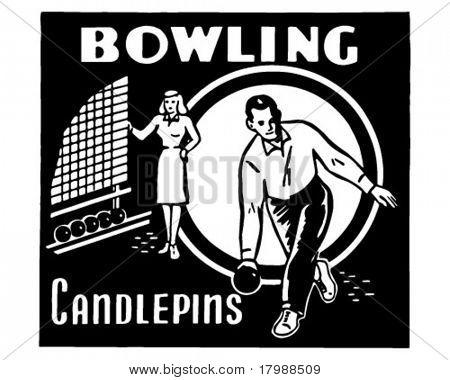 Bowling Candlepins - Retro Ad Art Banner