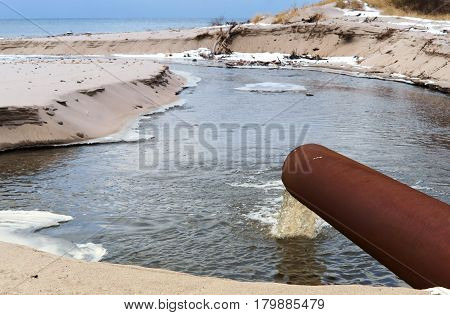 stock sea pipe draining ecology sanitation pollution