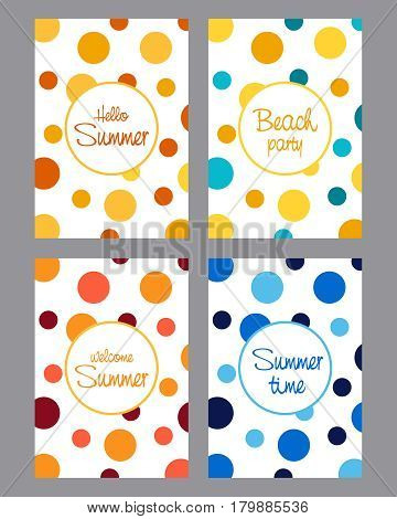 The Vector of Cards set with inscriptions.Summer cards with inscriptions Hi summer, Summertime, the Beach party.
