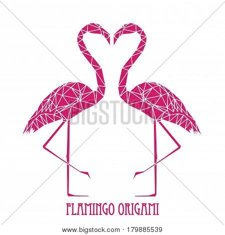 Couple of Pink Flamingos, geometric illustration with pink polygons on white background