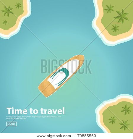Vector a banner with an island landscape in the sea and the yacht.Travel,tourism vector illustration in a flat style. travel banner.Water tourism.Summer holidays, vacation.