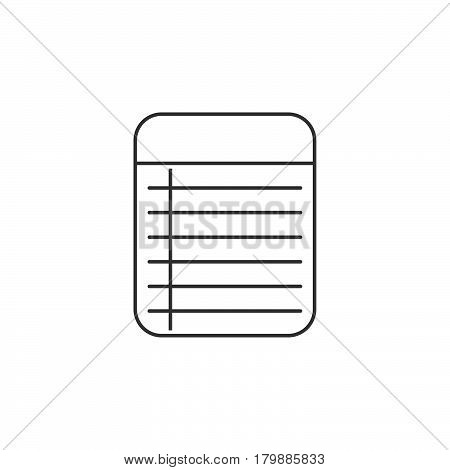 Memo Notepad thin line icon outline vector logo illustration linear pictogram isolated on white