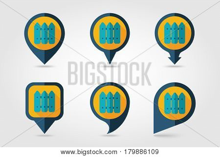 Fence flat mapping pin icon with long shadow eps 10