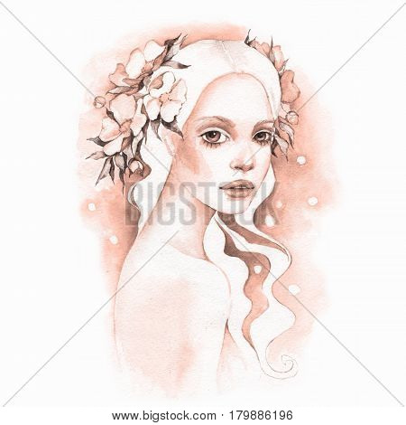 hand drawn watercolor female face watercolor painting