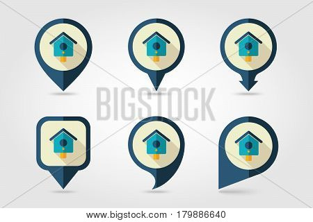Nesting box bird-house flat vector pin map icon. Map pointer. Map markers. Garden eps 10