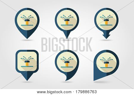 Water sprinkler irrigation flat vector pin map icon. Map pointer. Map markers. Garden eps 10