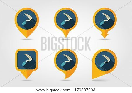 Sickles flat vector pin map icon. Map pointer. Map markers. Garden eps 10